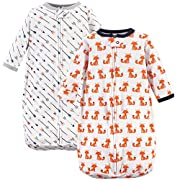 Hudson Baby Baby Long Sleeve Cotton Safe Wearable Sleeping Bag, Foxes, One Size