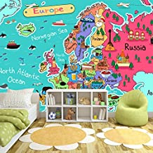Europe Map Wall Mural Educational Photo Wallpaper Kids Bedroom Home Decor available in 8 Sizes Large Digital