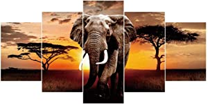 """Alloyseed DIY Full Drill 5D Diamond Painting Kits for Adults Kids 5 Pictures Sets of Splicing Paintings Elephant Diamonds Painting Combination Craft Kit for Home Wall Decor 37.4 X 17.72"""""""