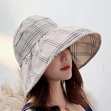 MUBFT Sombrero de Sol Mujer Sol De Verano, Tapa Superior, Tela ...