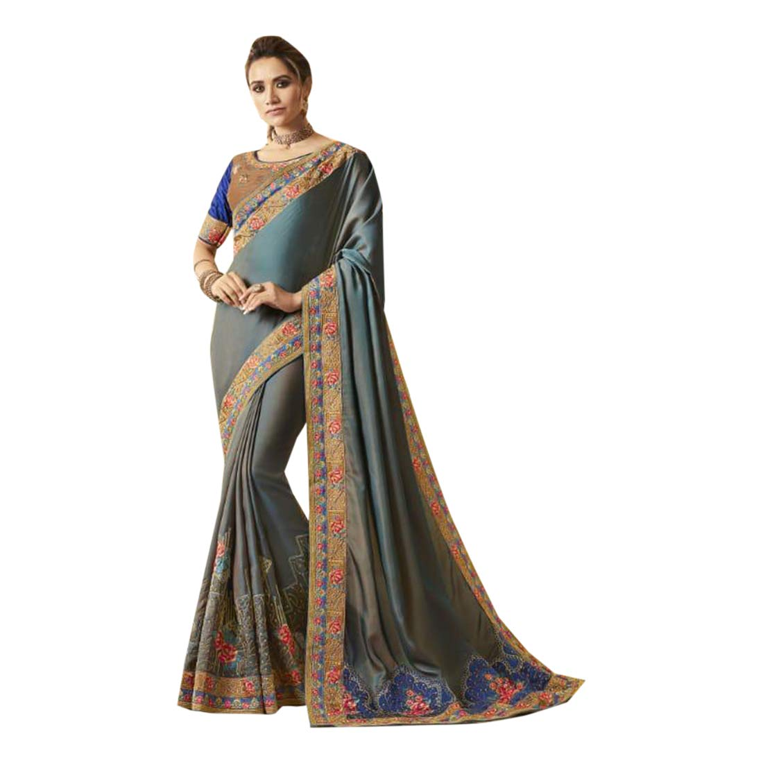 Indian Ethnic Embroidery Silk Saree With Blouse Designer Collection Sari Party Wear 7174