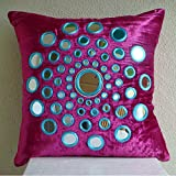 Luxury Fuchsia Pink Decorative Pillow Cover, Mirror Medallion Pillows Cover, Throw Pillow Covers 20''x20'', Geometric Modern Pillow Cases, Square Velvet Pillows Covers for Couch - Circle Of Images