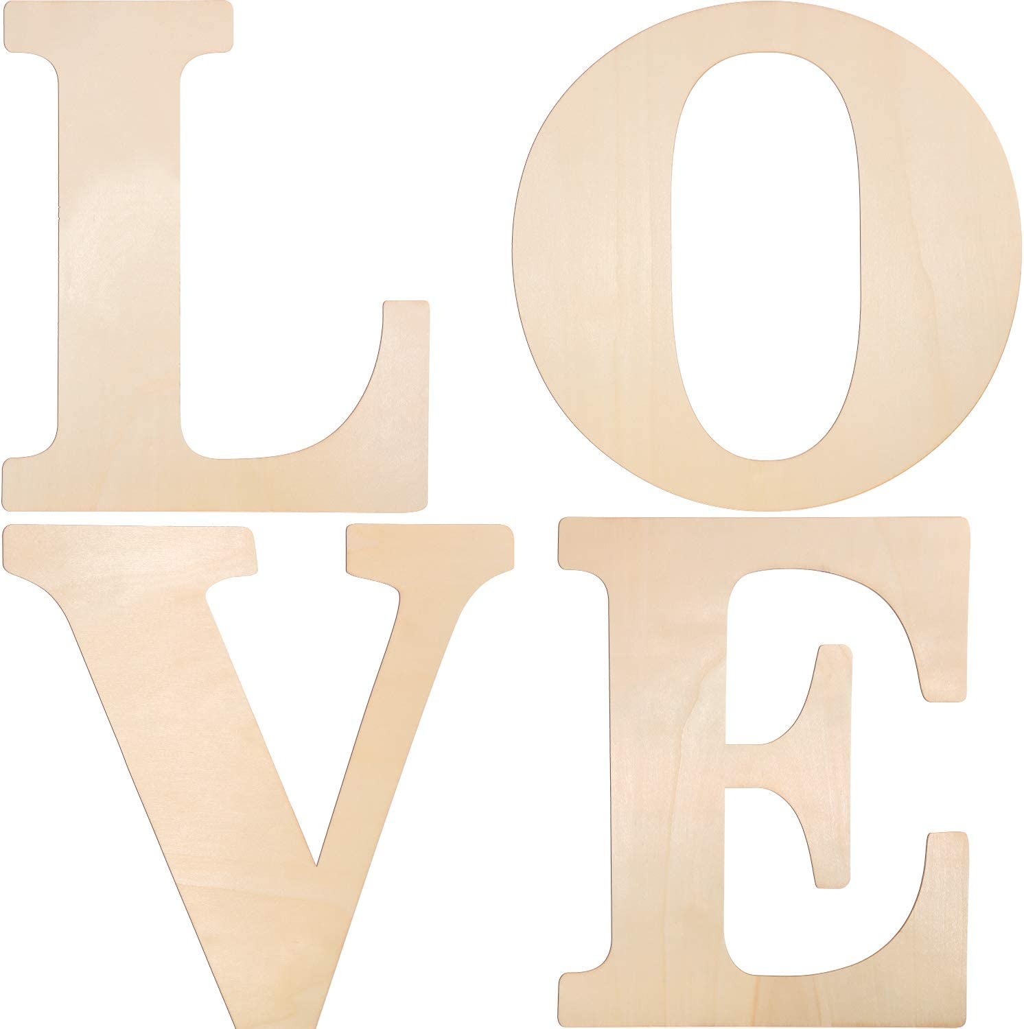 4 Pieces 12 Inches Unfinished Wooden Letters Love Wood Letters Wooden Home Wedding Decoration Letters Wooden Block Cutout Letters