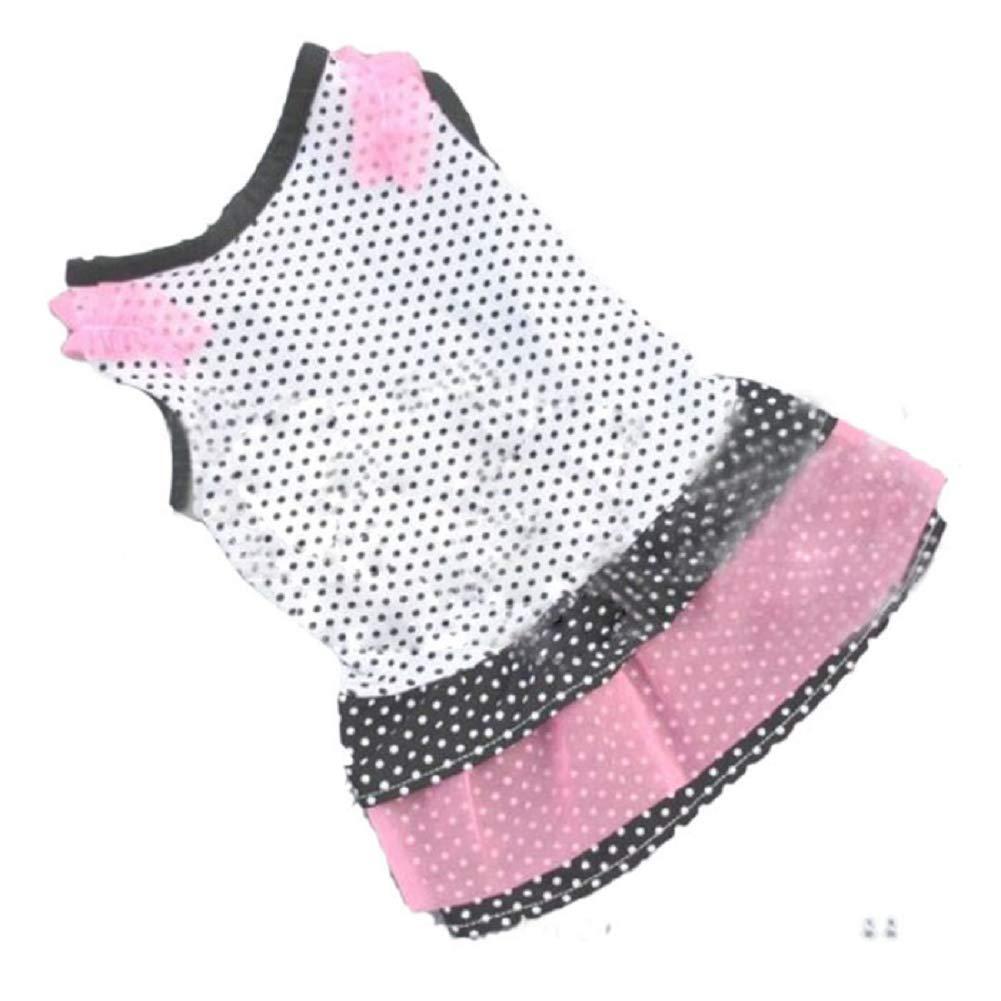 callm Dog Clothes Fashion Puppy Dog Princess Dress Dog Dot Skirt Pet Dog Dress (S, B)
