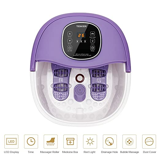TENKER All in One Bath Massager with Heating, Rolling Massage, Red Light, Bubbles, Digital Temperature Control LED Display