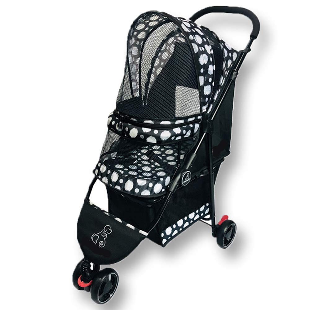 B PETSUPPLY Pet Travel Stroller Three Wheels Cat Dog Pushchair Trolley,Puppy Carrier,Shockproof,Easy Fold&Inssizetion,Pram For Dogs And Cats,B