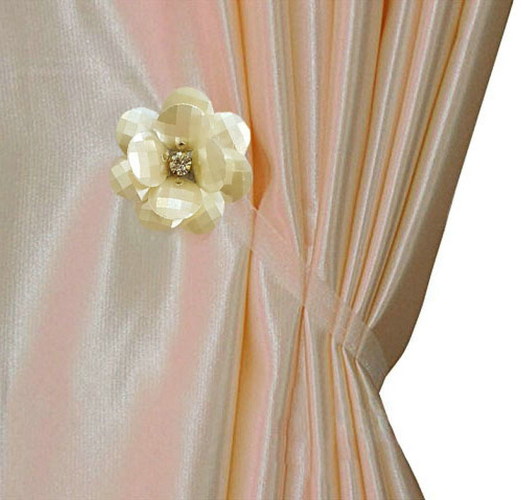 EleCharm 1 Pair Magnetic Drapery Tiebacks Clip Resin Milk White Flower Curtain Buckle