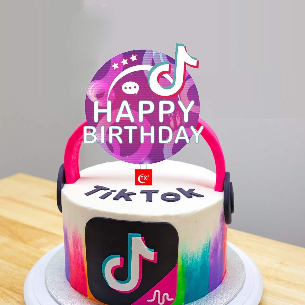 Tik Tok Happy Birthday Cake Topper Happy Birthday Tik Tok Topper Decorations For Birthday Party Music Theme Party Amazon Co Uk Toys Games
