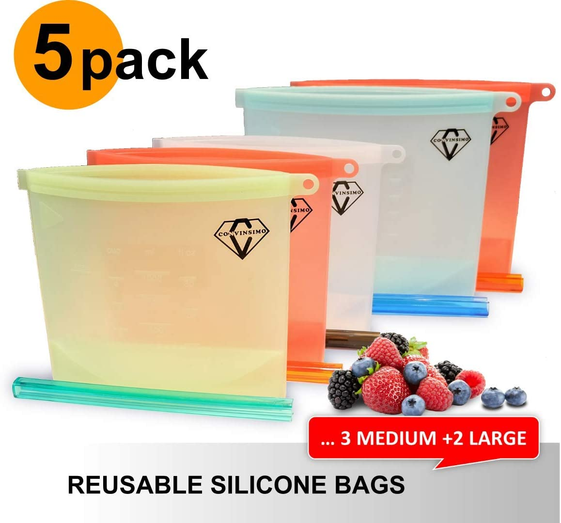 Reusable Leakproof Silicone FREEZER FOOD BAGS in Eco Friendly Gift Package