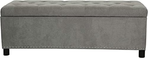 Decent Home Grey Storage Ottoman Bench