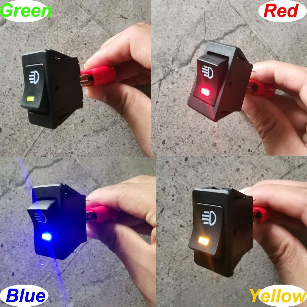 Gebildet 4 St/ücke 12VDC// 35A Auto Schalter f/ür Nebelscheinwerfer 4 Polig KFZ Boot Kippschalter Druckschalter Schalter LED Licht Rot//Gelb//Blau//Gr/ün