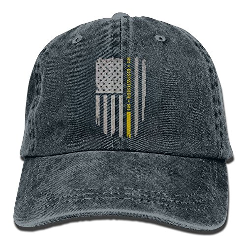911 Dispatcher Thin Gold Line Adjustable Cotton Cap Navy