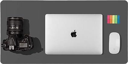 Tapis de bureau en cuir tapis de bureau tapis de souris 92x 44cm,Gris buvard de bureau en cuir PU antid/érapant,tapis de bureau pour ordinateur portable pour le bureau et la maison
