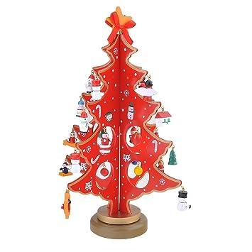 Jingxu Weihnachtsbaum Holz Künstlicher Weihnachtsbaum Mit Schmuck  Abnehmbare DIY Weihnachtsdeko Tannenbaum Christbaum,Weihnachtsgeschenk(rot