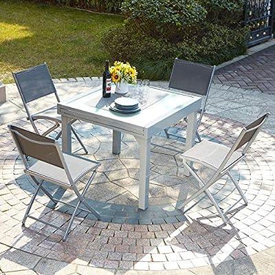 El Filomena: salón de jardín extensible mesa de aluminio y 4 sillas: Amazon.es: Jardín