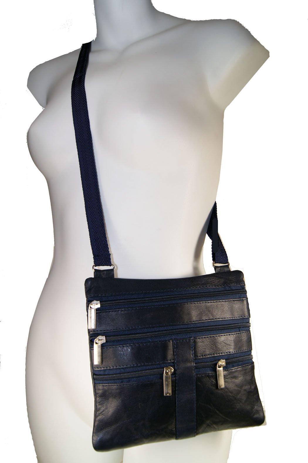 Navy Blue Ladies Genuine Leather Cross Body Bag Satchel Messenger Bag 48'' Strap by Wallet (Image #1)