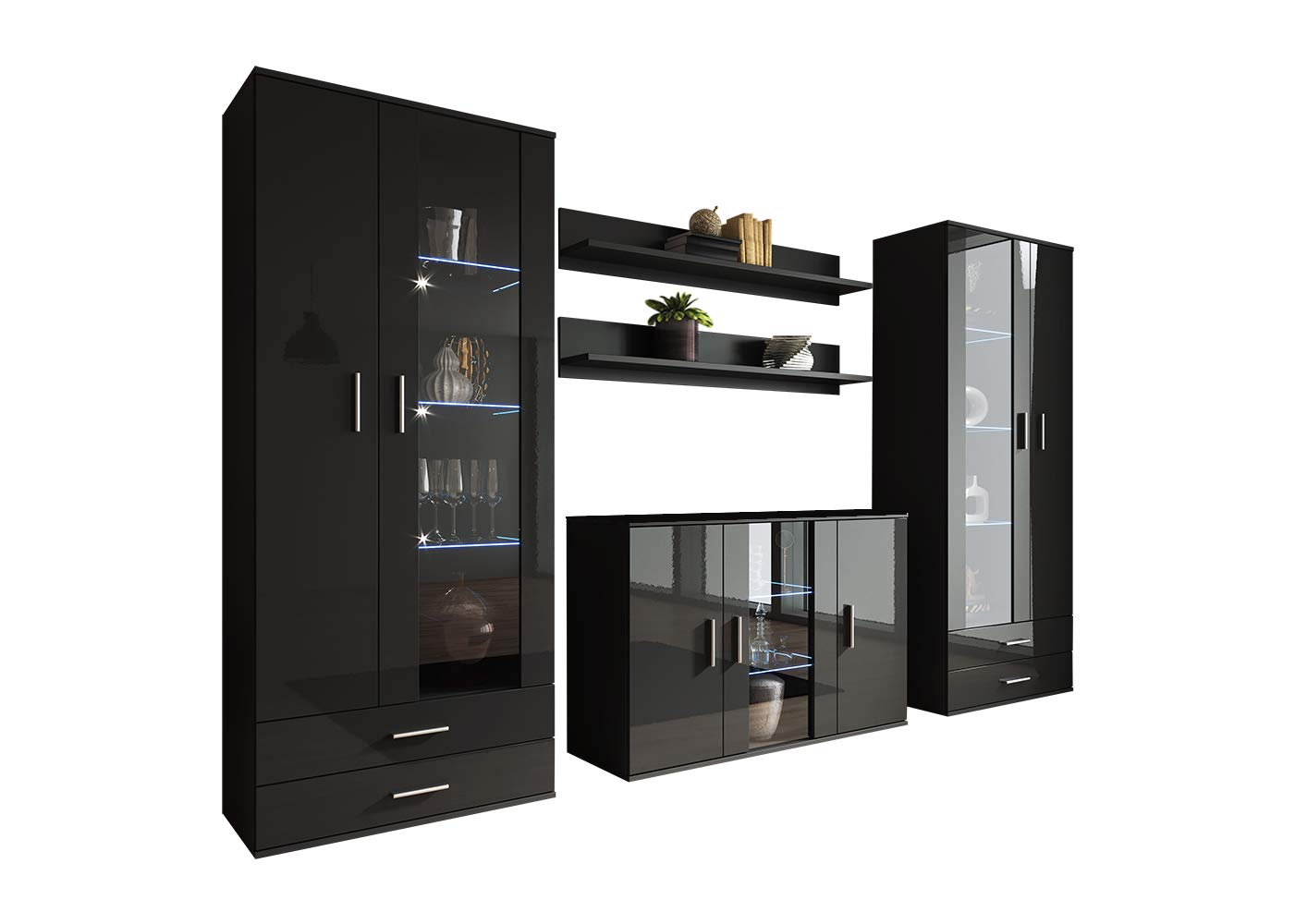 Soho 10 Modern Wall Unit with 16 Colors LED Lights (Black) by Meble Furniture & Rugs