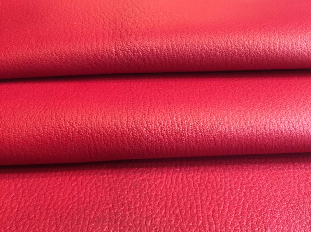 Quality Leather Hide - Red Color - Genuine Calfskin Craft Material - 8 sq ft AVG 36¨x 32¨ Longest and widest - Home Decor Projects - Upholstery Fabric Supply - Leather Treasure Shop