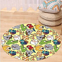 VROSELV Custom carpetChildren Funny Animals Hippo Giraffe Koala Parrot Crocodile Zoo Jungle Kids Nursery Graphic for Bedroom Living Room Dorm Multicolor Round 34 inches