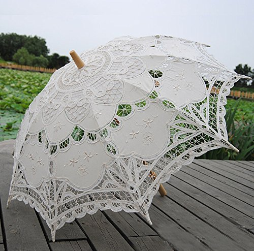 Worldoor Beautiful New Fashion Hot Sale Handmade Cotton Embroidery Beige Battenburg Lace Umbrella Parasol, Romantic Wedding Umbrella, Ivory by Worldoor (Image #3)