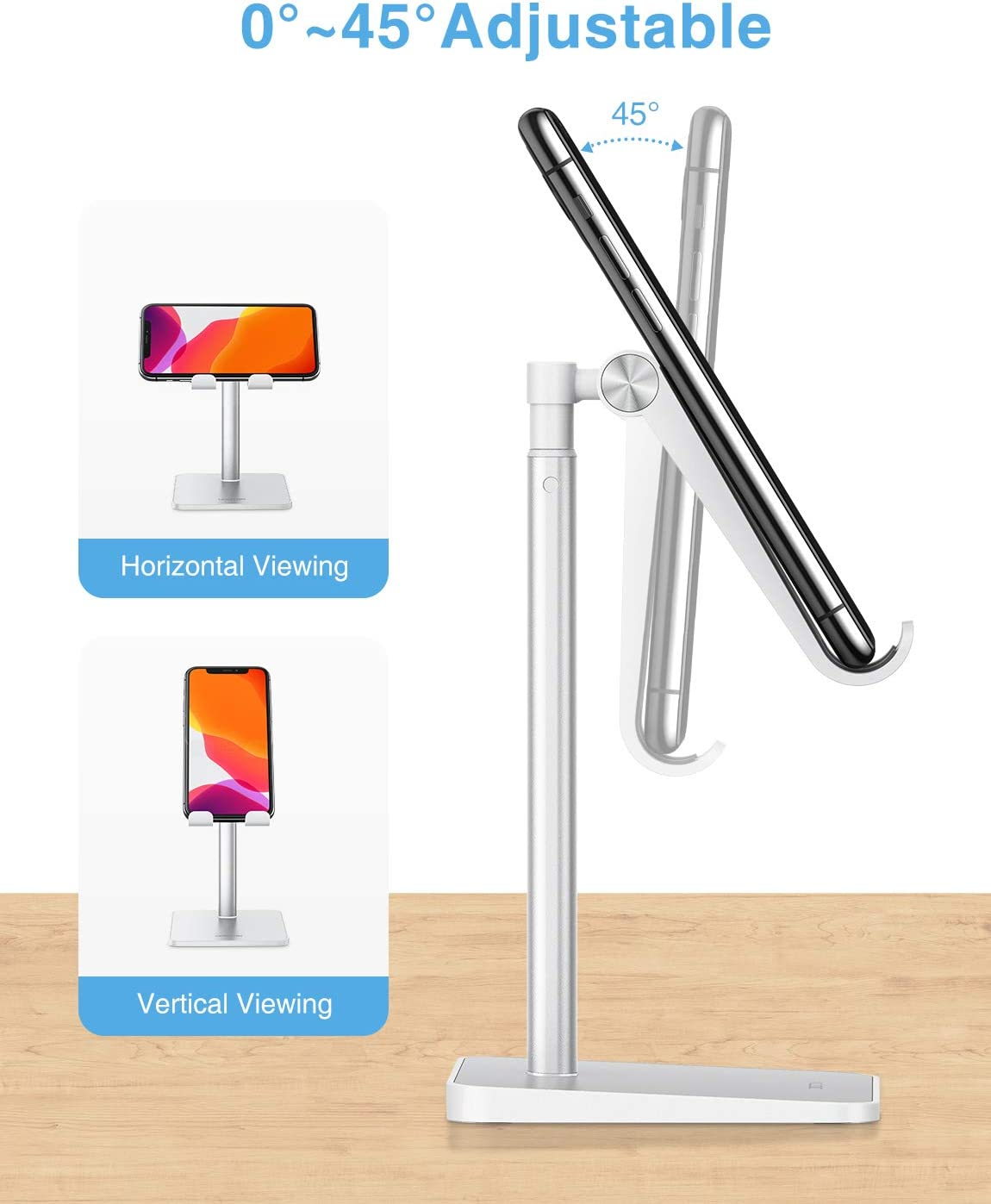 OMOTON Soporte M/óvil Mesa para iPhone 11//XR//Samsung S20// Huawei P40// Xiaomi Mi10 Universal Multi/ángulo Soporte Tel/éfono Ajustable para Smartphone Blanco