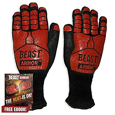Grill Beast BBQ Grilling Cooking Gloves - Heat Resistant Kevlar & Silicone Insulated Protection - Smoker and Kitchen Accessories from Grill Beast