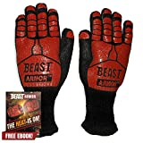 Grill Beast BBQ Grilling Cooking Gloves - Heat Resistant & Silicone Insulated Protection - Smoker Accessories