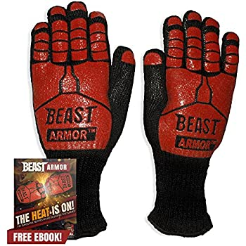 Grill Beast BBQ Grilling Cooking Gloves - Heat Resistant Kevlar & Silicone Insulated Protection - Smoker and Kitchen Accessories