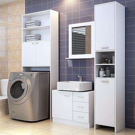 Tall Bathroom Cabinet Cupboard White Large Storage Shelf Home Bath Furniture  Freestanding