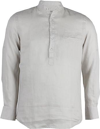 Camisa de cuello mao, de 100 % lino, color arena beige arena: Amazon.es: Ropa y accesorios
