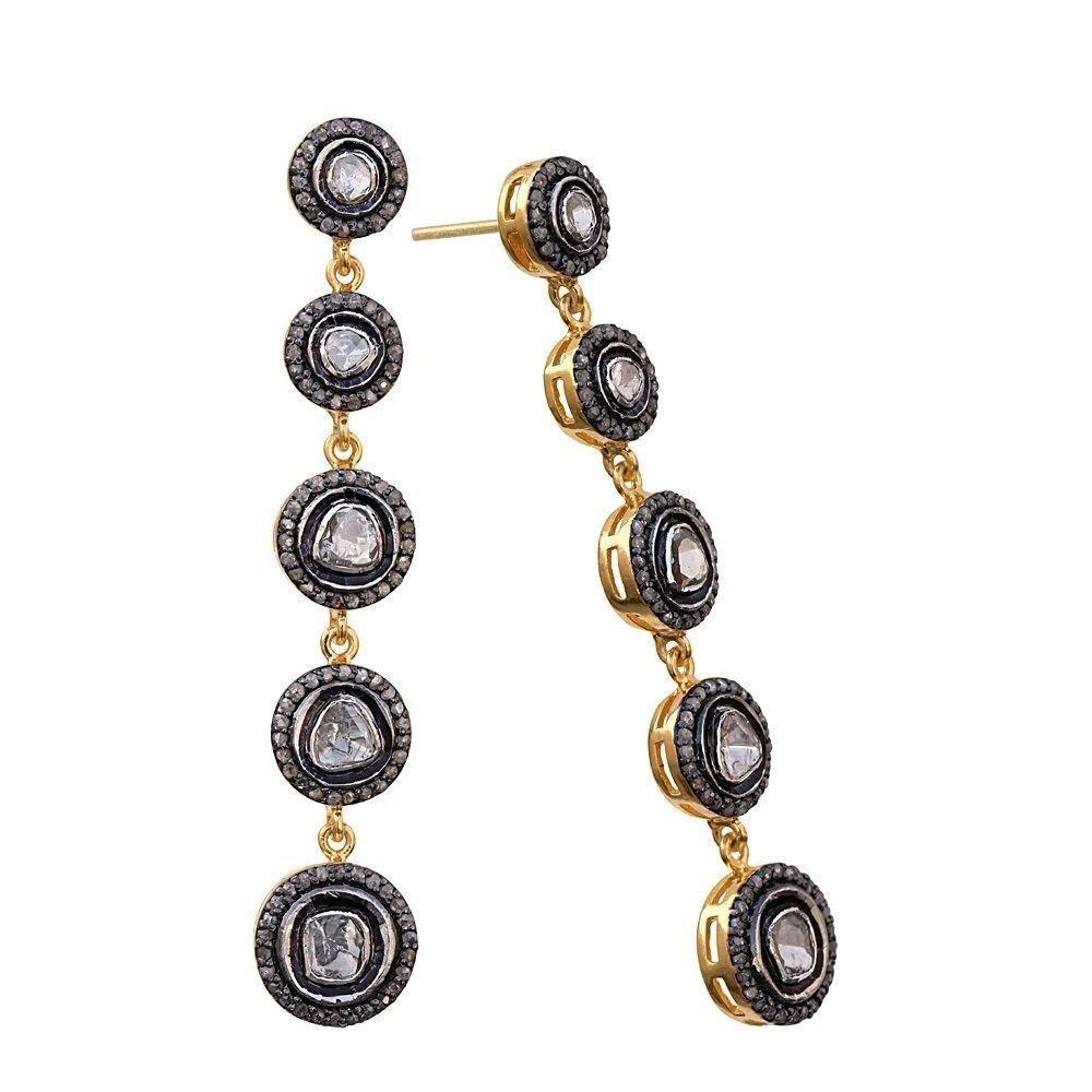 Pave Rose Cut Diamond Dangle Earrings 14k Gold Sterling Silver Jewelery
