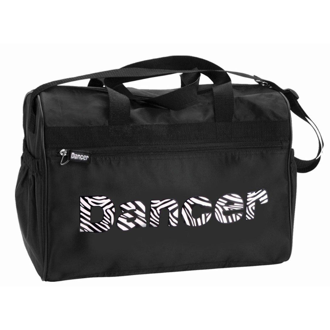 Danshuz Womens Girls Black Zebra Zippered Pockets Dancer Bag