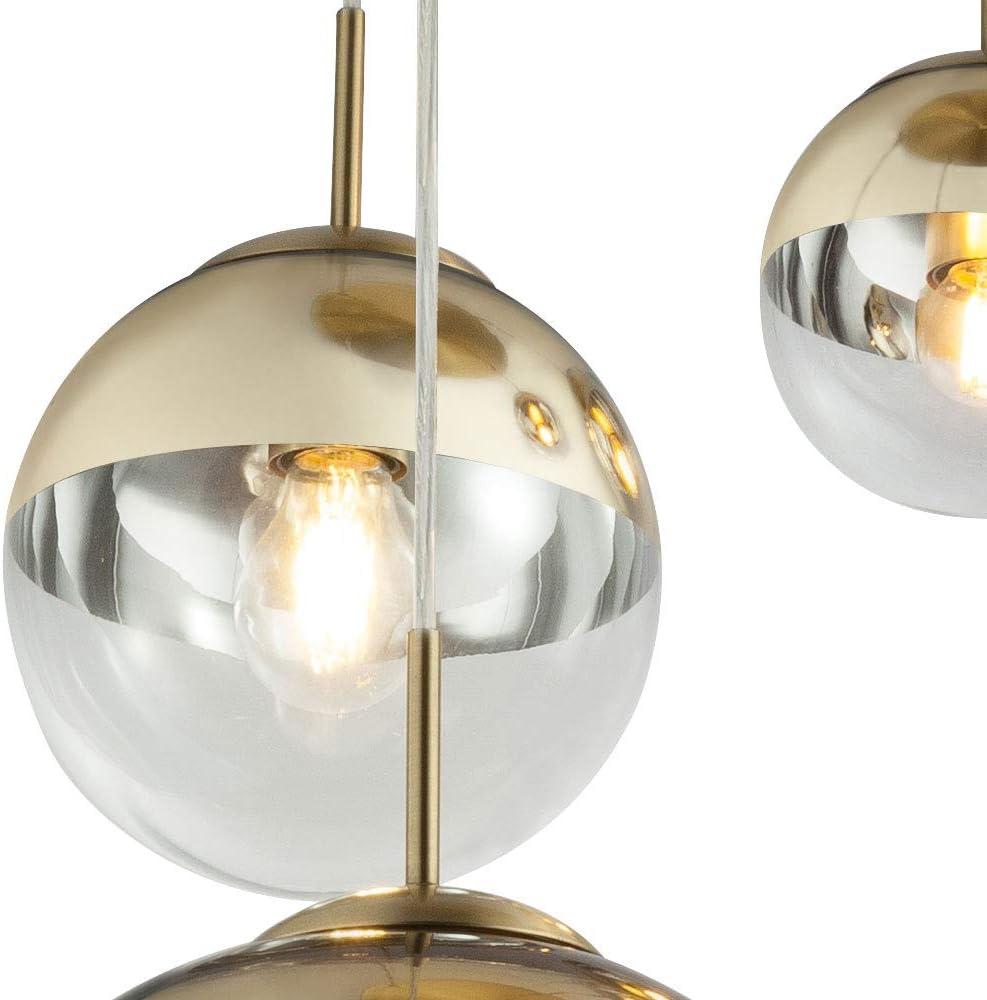 Decken Design Pendel Hänge Lampe Leuchte Kugel Glas GOLD Beleuchtung Ess Zimmer