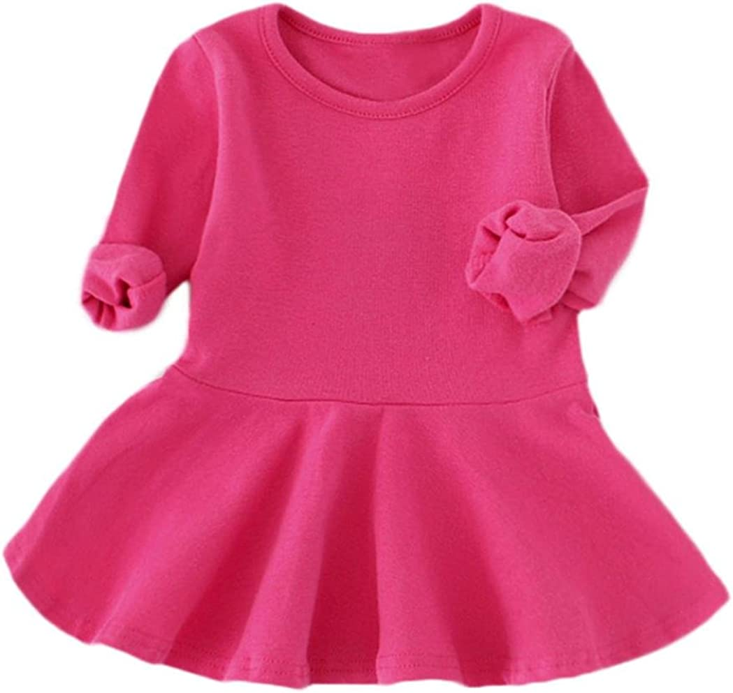 Fineser TM Girls Candy Color Long Sleeve Solid Princess Casual Dress for Toddler Baby Girls