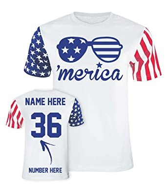 90abd884 Merica - Custom 4th of July T Shirts & Jerseys - Patriotic American Flag  Outfits -
