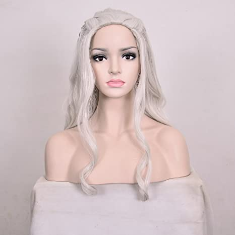 Amazon.com : Deifor Long Curly Wave Synthetic Hair with Braids for Daenerys Targaryen Costume Cosplay Wigs (Silver Gray) : Beauty