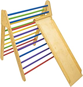 Wooden Climbing Pikler Triangle with Climbing Ladder, Foldable Climber, Climber for Toddlers by Montessori (Painted)