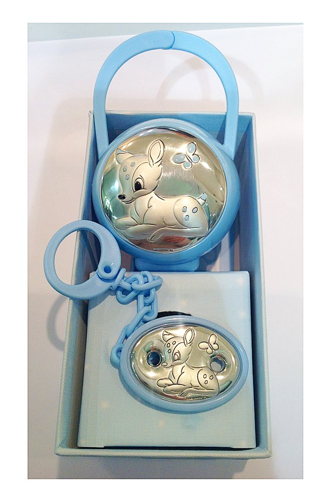Silver by 2R Argenti Baby Pack of Dummy and Clip silver