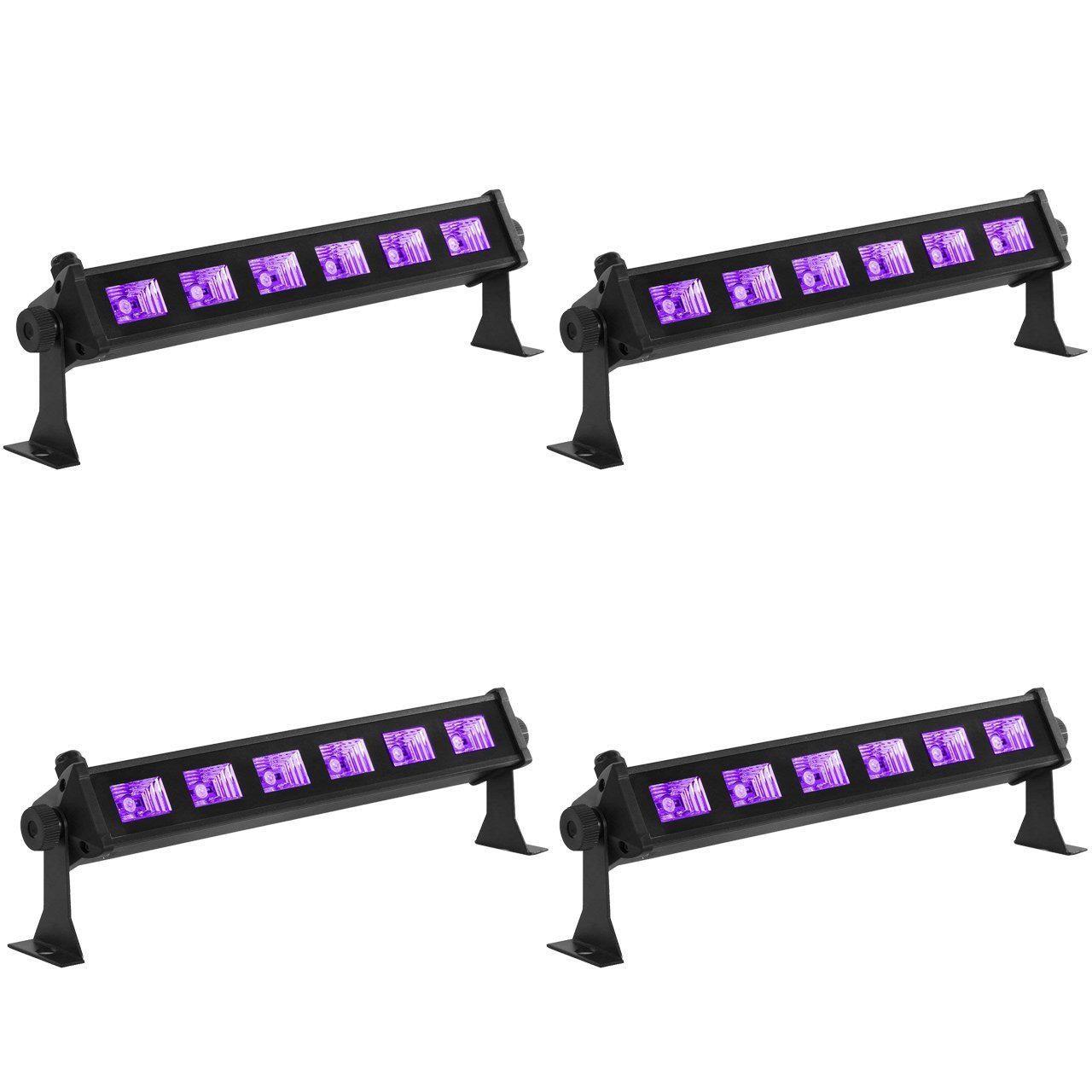 Eyourlife 6x3W LED Blacklights UV Bar Black Lights Fixture for Party DJ Stage Lighting Metal Housing Black (1 Pack 6x3W LED Blacklights) 18W 6 LED UV Black Light