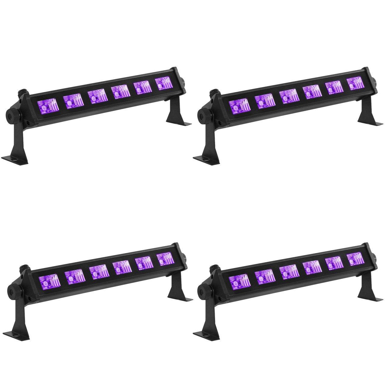 Eyourlife 6x3W LED Blacklights UV Bar Black Lights Fixture for Party DJ Stage Lighting Metal Housing Black (4pc 6x3W LED Blacklights)