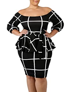 e7c6677899b VINKKE Women s Plus Size Off Shoulder Peplum Dress Checked Bodycon Party  Dress