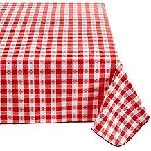 Winco TBCO-90R Checkered Table Cloth, 52-Inch x 90-Inch, Red
