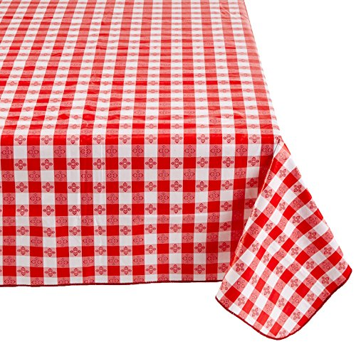 Winco TBCO-90R Checkered Table Cloth, 52-Inch x 90-Inch, Red by Winco