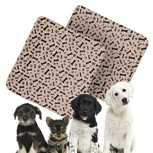 uppy Training Travel Reusable Pee Pads – Black & Brown Paw and Bone Print Design – Large Size 31.5 in x 35.4 in - Value 2 in every Pack (Paw Prints Pet Kennels)
