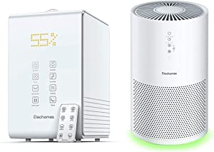 Elechomes SH8820 Humidifier Top Fill Warm & Cool Mist Humidifier and Elechomes EPI236 Pro Air Purifier for Large Room Bundle