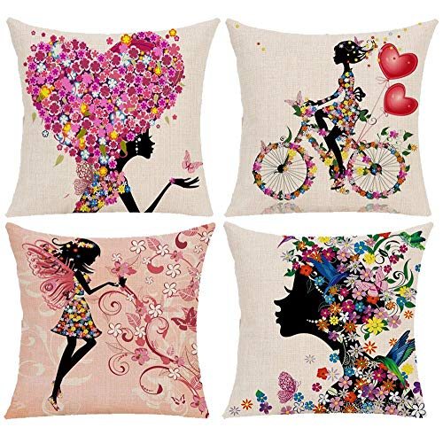 Wilproo Flower Fairy Girl Cushion Pillow Covers, Pink Wing Elves and Butterflies Super Cute Both Sides Printed Cotton Linen Burlap Sturdy Durable Easy to Clean for Home Holiday Family Car Sofa Decor (Pillows Cheap Holiday)