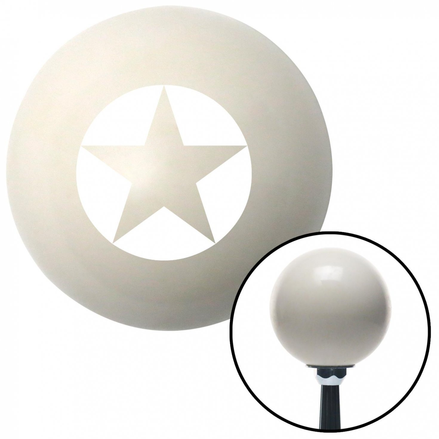 American Shifter 41007 Ivory Shift Knob with 16mm x 1.5 Insert White Star in Circle
