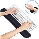 Intsun マウスパッド 低反発 リストレスト パソコン用アームレスト ブラック肘掛け キーボードパッド 疲労軽減 マウス滑り止めの手首パッド 人間工学デザインの休息メモリー泡 2点セット