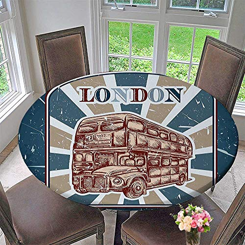 Mikihome Luxury Round Table Cloth for Home use Label with English Bus on BackgroundSketchy Blue Red for Buffet Table, Holiday Dinner 63