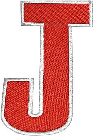 Rojo inglés alfabeto con borde blanco J Badge bordado parche para ...
